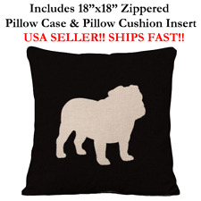 "18x18 18"" ENGLISH FRENCH BULLDOG FRENCHIE DOG Zippered Pillow Case & Cushion"