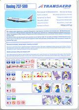 Safety Card - Transaero - B737 500 (Russia) (S2661)