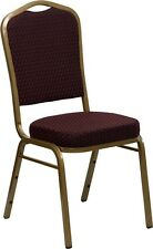 Crown Back Stacking Banquet Chair in Burgundy Patterned Fabric with Gold Frame