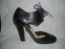 "CHANEL Black Leather ""Cinema"" Mary Jane Lace Tie Up Pumps Shoes Heels 37.5 EU"