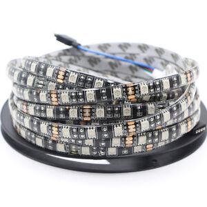 5m LED Strip tape Light RGB Waterproof 5050 Black PCB car DRL DIY string lamp DC