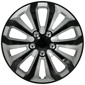 "15"" Set of 4 Black Silver Wheel Covers Snap On Hub Caps fit R15 Tire & Steel Rim"