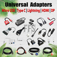 Adapters For Micro USB / Type C / Lightning / HDMI / DP / AUX lot Cable 4K HD US