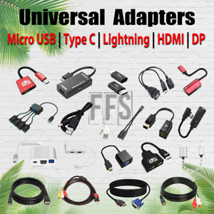 Adapters For Micro USB / Type C USBC / HDMI / DP / AUX / RCA Cable 4K HD lot US