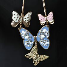 Schmetterling Kette gold-farbig Butterfly Necklace 4 Schmetterlinge rosa blau
