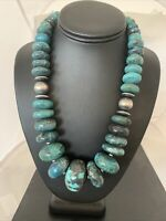 CHUNKY Navajo Pearl Graduated Sterling Silver Natural Blue TURQUOISE Necklace731