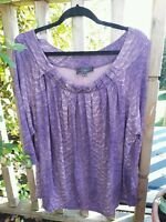 Ann Harvey Size 22 Jersey Top Blouse 3/4 sleeve T Shirt Stretchy Purple Stripe