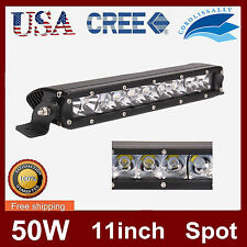 11 '' 50W CREE SPOT LED WORK LIGHT BAR DRIVING OFFROAD 4WD BOAT TRUCK SINGLE ROW