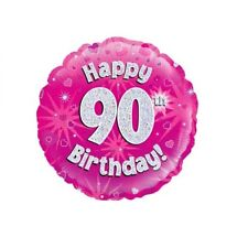 Happy 90th Birthday Holographic Pink Foil Balloon 45 cm (18 inch) Party Decor