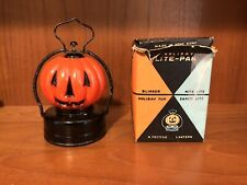 Vintage 1950's Wales Lighted Halloween Jack-o-lantern Glass Pumpkin In Box