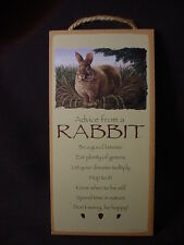 ADVICE FROM A RABBIT Wisdom Love Wood SIGN wall HANGING PLAQUE bunny animal NEW