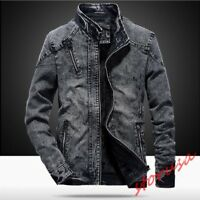 Mens Stand Collar Zip Up Denim Coat Thick Fleece Lined Retro StonewashED Jackets