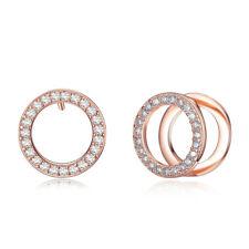 Fashion Elegant Rose Gold Plated Circle Stud Earrings Women Girls Gift Jewelry
