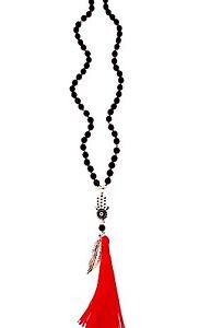 Evil Eye Rosary Onyx Hamsa Hand Of Fatima Tassel Angel Feather Necklace Bohemian