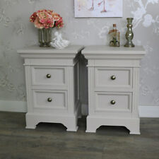 Furniture pair of grey taupe bedside table chests shabby French chic furniture