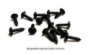 100 kleine Holz-/Blechschrauben, Stahl schwarz, ab 1,7mm Ø, Linsenkopf mit Bund