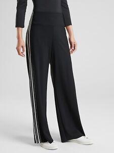 Athleta Size Small High Rise Meridian Wide Leg Travel Yoga Black Striped Pants