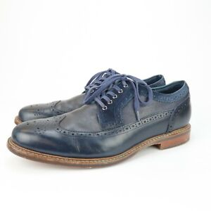 COLE HAAN Men's Cooper SQ Navy Blue Leather Wingtip Oxford Shoe Size 11.5 M