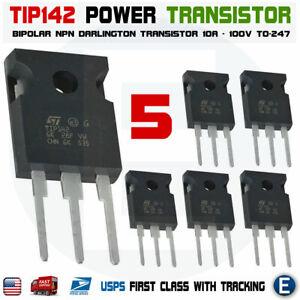 5Pcs TIP142 Power Transistor NPN Bipolar Darlington 100V 10A TO-247 USA