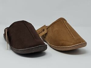 Response Mens Cliff Faux Suede Fleece Lined Mule Slippers D.Brown&Brown (BOXED)