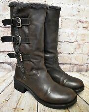 Para mujer Miss Sixty Marrón Cuero tire de tacón medio mitad de pantorrilla botas de Reino Unido 5 EUR 38