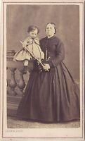 Madre E Bambini Leon Regimbart Parigi CDV Vintage Albumina Ca 1865
