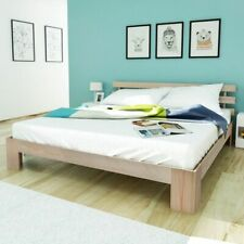 vidaXL Solid Pinewood Bed 160x200cm Natural Double Bedroom with Headboard