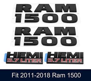 4pc Black Dodge Ram 1500 Hemi 5.7 Fender Door Emblem Badge Nameplate 3d Letters