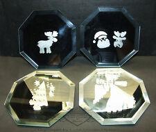 Glasuntersetzter mit Weihnachtsmotiven, 4er Set, Glas, 8-eckig, Edel