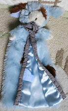 Mud Pie Blue & Brown Fluffy w Spot & Gingham Puppy Dog Baby Security Blanket Toy