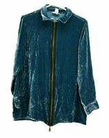 Soft Surroundings Women's Medium Silk Blend Long Sleeve Velvet Full Zip Jacket