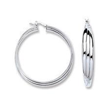 Hoop Earrings Creole Silver Rhodium Plated Sterling Silver Hoops Russian Wedding