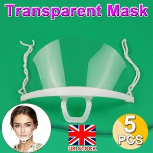 5PCS Clear Mouth Shield for Mouth and Nose Protection Anti-Fog Face Visors Mask