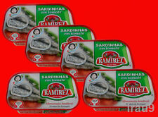 5 Cans Portuguese Sardines in Tomato Sauce 125g, 4.4oz Rich in Omega3 & Calcium