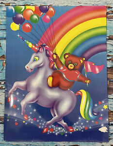 Rare Vintage 1990s LISA FRANK Folder Rainbow Unicorn With Bear