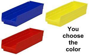 "12 Pack 17 7/8"" x 6 5/8"" x 4"" Plastic Inventory Storage Nest Shelf Parts Bins"
