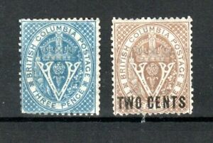 Canada - British Columbia 1865-71 3d and 2c surcharge MLH