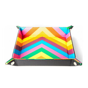 MDG Velvet Folding Flat High Quality Dice Tray (with Leather Backing Rainbow)