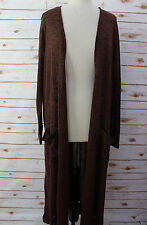 XL LuLaRoe Sarah Beautiful Luxurious Black Brown lightweight Duster Cardigan NWT