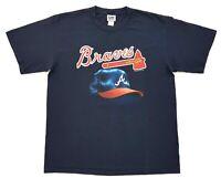 Vintage Atlanta Braves Tomahawk Tee Navy Size L Mens T Shirt 2003 MLB Baseball