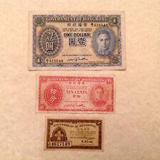 ~ Lot of 3 - 1940's Hong Kong  Banknotes George VI - P 323 - P 313 - & P 316