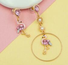 New Fashion Betsey Johnson Rare Alloy Rhinestone Pink Enamel Bird Drop Earrings