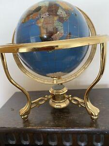 Vintage Rotating World Globe Map Blue Lapis Lazuli Semi Precious Gemstones.