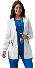 Cherokee Women's Patch Pockets Long Sleeve Rib Knit Two Button Lab Coat. 1302