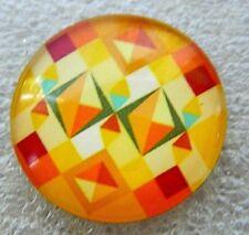 Needle minder keeper / fridge magnet geometric  pattern glass needlework #O