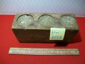 VINTAGE COLLECTIBLE PRIMITIVE WOODEN 3 CANDLE MOLD/HOLDER WITH CANDLES INCLUDED