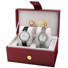 Women's Burgi BUR152SS Diamond Swarovski Silver Black Leather/Bracelet Watch Set