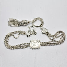 Victorian Ladies Solid Silver Albertina Chatelaine Pocket Watch Fob Chain