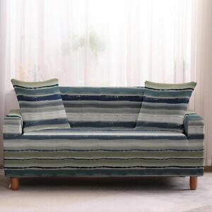 Pinstripe Furniture Covers Sofa 2 3 4 Seater Stretch Cushion Slipcover Recliners