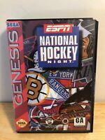 ESPN National Hockey Night (Sega Genesis, 1994) Complete with Poster